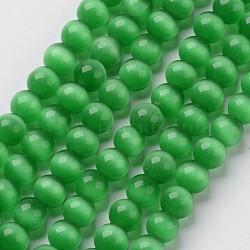 perles oeil de chat, arrondir, vert, 8 mm, trou: 1 mm; environ 15.5 / brin, environ 49 pcs / brin(X-CER8mm07)