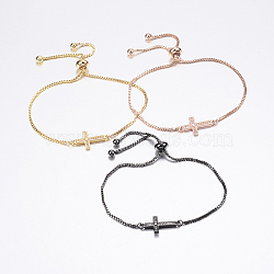 """Bracelets bolo réglables en laiton, Bracelets coulissants, avec zircone et chaînes, croix, couleur mixte, 10-1/4"""" (260 mm)(BJEW-P200-11)"""