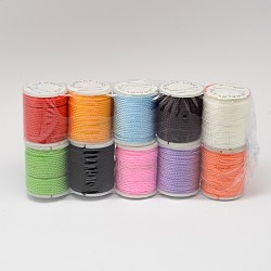 Mixed Nylon Threads, Mixed Color, 1mm; about 10yards/roll, 10roll/bag(NWIR-N003-1mm-01)