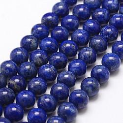 Natural Lapis Lazuli Bead Strands, Round, 8mm, Hole: 1mm; about 49pcs/strand, 15.5