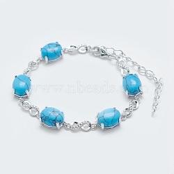 """Bracelets en mailles synthétiques turquoise, avec les accessoires en laiton, Platine plaqué réel, ovale et infini, 5-3/4""""~6"""" (14.5~15 cm)(BJEW-G595-A14)"""