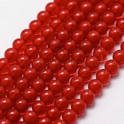 perles de corail rouge synthetiques, arrondir, 3 mm, trou: 0.5 mm; environ 125 perle / brin(G-N0209-01-3mm)
