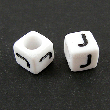 Letter Acrylic European Beads, Cube, Letter.J, 10x10x10mm, Hole: 4mm; about 59pcs/50g(X-OPDL-R050-10mm-J)