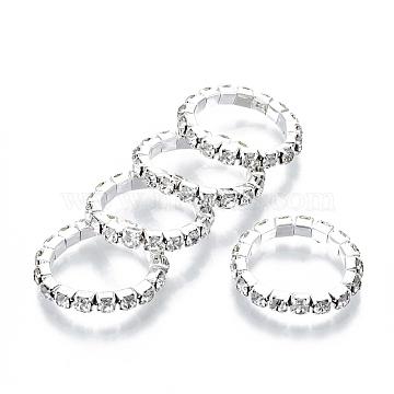 Iron Finger Rings, with Rhinestone, Platinum, Crystal, Size 5, Inner Diameter: 16mm(RJEW-R136-01)
