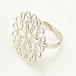 Laiton composants d'anneau en filigrane, réglable, couleur platine, 16mm(X-KK-G119-N)