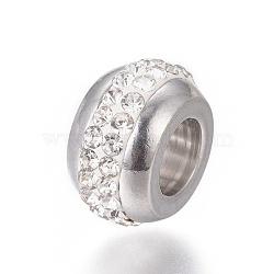 Perles en 304 acier inoxydable, avec argile polymère strass, Perles avec un grand trou   , rondelle, couleur inoxydable, cristal, 12.5x6.5mm, Trou: 5.5mm(STAS-E477-12B)