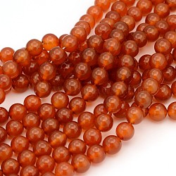 Gemstone Beads Strands, Natural Carnelian, Dyed, Round, 10mm, Hole: 1mm; about 38pcs/strand, 15.5