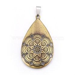 alliage de style tibétain gros pendentifs, avec les résultats en acier inoxydable, déposer à la fleur, couleur bronze antique et inox, 51x30.5x5 mm, trou: 4x9 mm et 2 mm(X-PALLOY-E509-04AB)