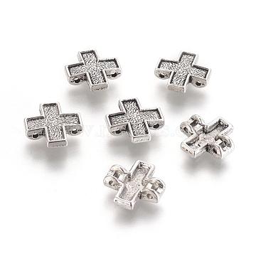 Tibetan Style Alloy Multi-Strand Links, Cadmium Free & Lead Free, Cross, Antique Silver, 15x15x3mm, Hole: 1.5mm(K08HP042)