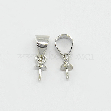 Brass Cup Pearl Peg Bails Pin Pendants, For Half Drilled Beads, Platinum Color-12mm, hole: about 3mm(X-KK02)