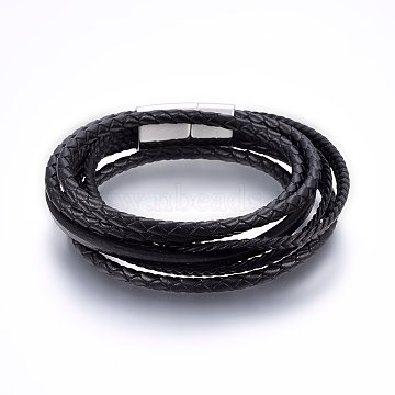 Leather Cord Wrap Bracelets, with 304 Stainless Steel Magnetic Clasp, Rectangle, Stainless Steel Color, 8-5/8inches(22cm); 4~30x2~4mm(BJEW-G603-33P)
