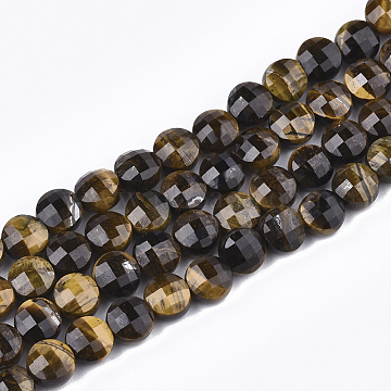 Natural Tiger Eye Beads Strands, Faceted, Flat Round, 6~6.5x4~5mm, Hole: 1mm; about 61~67pcs/strand, 14.9 inches~15.1 inches(X-G-T108-44)