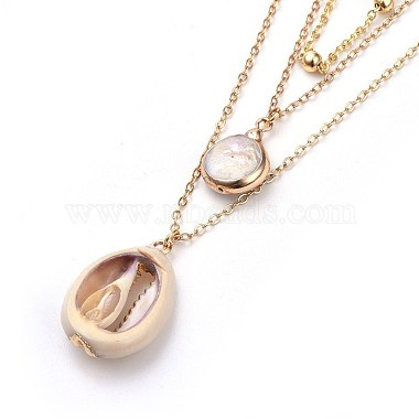 Cowrie Shell and Plated Natural Baroque Pearl Keshi Pearl Tiered Necklaces(X-NJEW-JN02389)-3