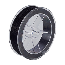 Chaîne de cristal élastique plat, fil de perles élastique, pour la fabrication de bracelets élastiques, noir, 0.8 mm; environ 100 m/rouleau(EW-WH0002-01A)