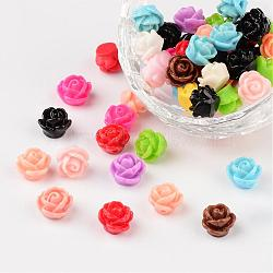 Opaque Resin Beads, Rose Flower, Mixed Color, 9x7mm, Hole: 1mm(X-CRES-B1029-M)
