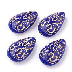 Déposer des perles acryliques placage, métal doré enlaça, bleu, 18x11.5x7.5mm, Trou: 1.5mm(X-PACR-Q102-151D)