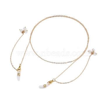 Eyeglasses Chains, Neck Strap for Eyeglasses, with Brass Cable Chains, Natural Pearl, Glass Beads, 304 Stainless Steel Lobster Claw Clasps and Rubber Loop Ends, Golden, 26.18 inches(66.5cm)(AJEW-EH00122)