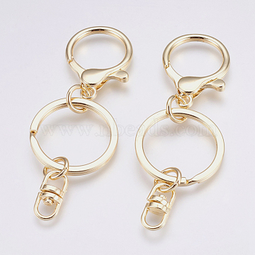 Alloy Keychain, with Iron Findings, Golden, 87mm(X-PALLOY-K239-02G)