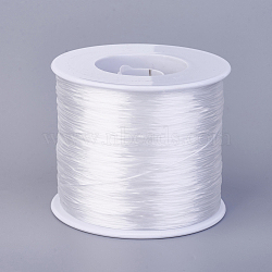 Flat Elastic Crystal String, Elastic Beading Thread, for Stretch Bracelet Making, White, 0.7mm; about 500m/roll(EW-F006-14)