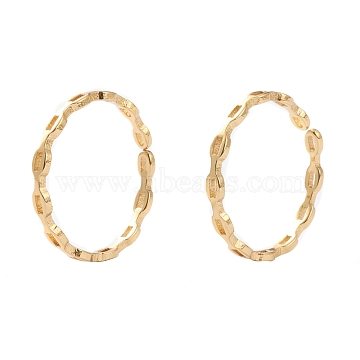 Brass Cuff Rings, Open Rings, Long-Lasting Plated, Oval, Real 18K Gold Plated, Inner Diameter: 17mm(RJEW-H131-01G)