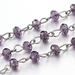 Handmade Glass Beaded Chains for Necklaces Bracelets Making, with Gunmetal Tone Brass Eye Pin, Unwelded, Purple, 39.3 inches, about 92pcs/strand(X-AJEW-JB00132-02)