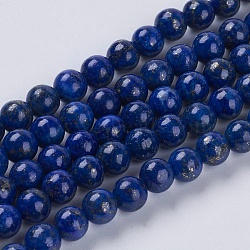 Natural Lapis Lazuli Beads Strands, Grade A, Round, 6mm, Hole: 1mm; about 62pcs/strand, 16inches