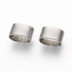 304 Stainless Steel Slide Charms, Oval, Stainless Steel Color, 5x8.5x5mm, Hole: 4x7.5mm(STAS-G187-29P-C)