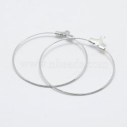 латунные подвески, долговечный, никель свободный, открытый круг / кольцо, Реальная платина, 39.5x36x0.8 mm, отверстия: 1 mm(X-KK-F727-22P-NF)