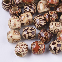Printed Natural Wood Large Hole Beads, Barrel, Lead Free, Mixed Color, 16x14.5~16.5mm, Hole: 7.5mm(X-WOOD-R251-01-LF)