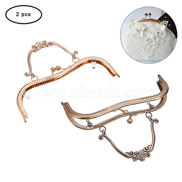 PandaHall Elite Iron Purse Frame Handle for Bag Sewing Craft Tailor Sewer, Mixed Color, 160x205~210x13mm, Hole: 1.5~3mm; 1pcs/color, 2pcs/sets(FIND-PH0015-11)