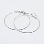 Brass Pendants, Long-Lasting Plated, Nickel Free, Open Circle/Ring, Real Platinum Plated, 39.5x36x0.8mm, Hole: 1mm