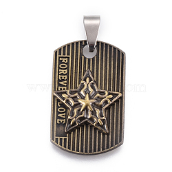 Pendentifs en alliage de style tibétain, avec les accessoires en acier inoxydable, ovale avec étoile et mot amour pour toujours, bronze antique et couleur d'acier inoxydable, 31x19.5x4.5mm, Trou: 4x9mm(PALLOY-E509-30AB)