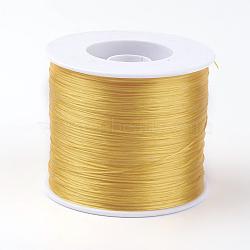 Chaîne de cristal élastique plat coréen, fil de perles élastique, pour la fabrication de bracelets élastiques, or, 0.5 mm; environ 500 m/rouleau(EW-G005-0.5mm-31)