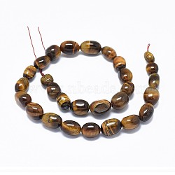 Natural Tiger Eye Beads Strands, Oval, 10.5~16.5x6.5~10.5mm, Hole: 1.2mm; about 28pcs/strand, 15.3''(39cm)