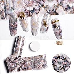 Nail Art Transfer Foil Nail Sticker, For Nail Tips Decorations, Shell Pattern, RosyBrown, 120x4cm(MRMJ-TA0007-03)