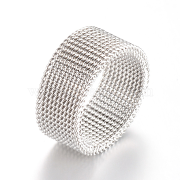 304 Stainless Steel Finger Ring Settings, Stainless Steel Color, Size 7, 17mm(X-MAK-R010-17mm)