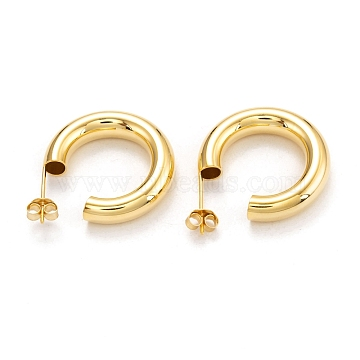 Semicircular 925 Sterling Silver Half Hoop Earrings, with Ear Nuts, Real 18K Gold Plated, 24.5x5.5mm, Pin: 0.6mm(EJEW-H110-11G)
