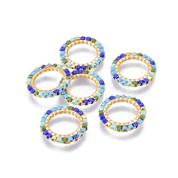 MIYUKI&reg & TOHO&reg Handmade Japanese Seed Beads, with Brass Link Rings, Loom Pattern, Ring, Golden, Colorful, 15~16x1.8mm(SEED-A028G-S-04)