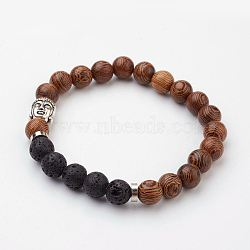 Wood Beaded Stretch Bracelets, with Natural Lava Rock Beads, Brass Spacer Beads and Alloy Buddha Head Bead, 2-1/8 inches(53mm)(X-BJEW-JB03049-01)