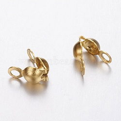 304 Stainless Steel Bead Tips, Calotte Ends, Clamshell Knot Cover, Golden, 5x2.5mm, Hole: 1mm(X-STAS-N0007-02G-1)