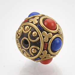 Handmade Indonesia Beads, with Brass Findings, Round, Golden, Colorful, 16x14mm, Hole: 1.2mm(X-IPDL-S053-184)