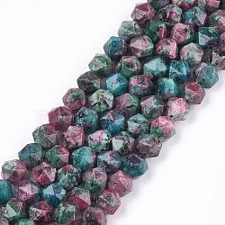jaspe de sésame naturel / perles de jaspe kiwi, teints, facettes, arrondir, coloré, 8x8x8 mm, trou: 1 mm; environ 47~50 perle / brin, 14.5(X-G-S348-02E)