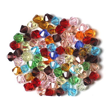Imitation Austrian Crystal Beads, Grade AAA, Faceted, Bicone, Mixed Color, 3x3mm, Hole: 0.7~0.9mm(SWAR-F022-3x3mm-M)