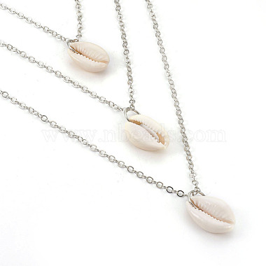 Cowrie Shell Tiered Necklaces(NJEW-JN02295)-2