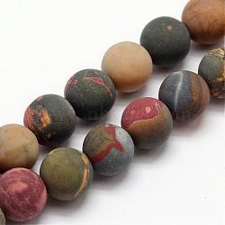 """Pierre naturelle picasso / jaspe picasso brins de perles givrées, rond, 6mm, trou: 1mm; environ 30 pcs/chapelet, 7.5""""(G-O155-03B-6mm)"""