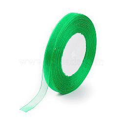 Organza Ribbon, Green, 5/8 inch(15mm); 50yards/roll(45.72m/roll), 10rolls/group, 500yards/group(457.2m/group).(ORIB-15mm-Y019)