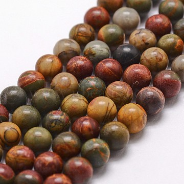 Natural Picasso Stone/Picasso Jasper Bead Strands, Round, 8mm, Hole: 1mm, about 49pcs/strand, 15 inches(X-G-D840-85-8mm)