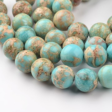 Natural Imperial Jasper Beads Strands, Round, Dyed, Light Blue, 10mm, Hole: 1mm, about 38pcs/strand, 15 inches(X-G-I122-10mm-12)