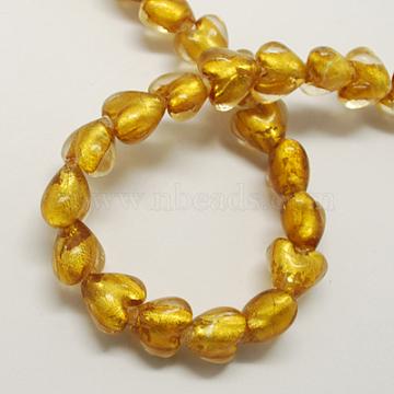 Handmade Silver Foil Glass Beads, Heart, Goldenrod, 12x12x8mm, Hole: 2mm(X-FOIL-R050-12x8mm-16)