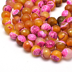 Natural Fire Agate Bead Strands, Round, Grade A, Faceted, Dyed & Heated, HotPink, 12mm, Hole: 1mm; about 32pcs/strand, 15inches